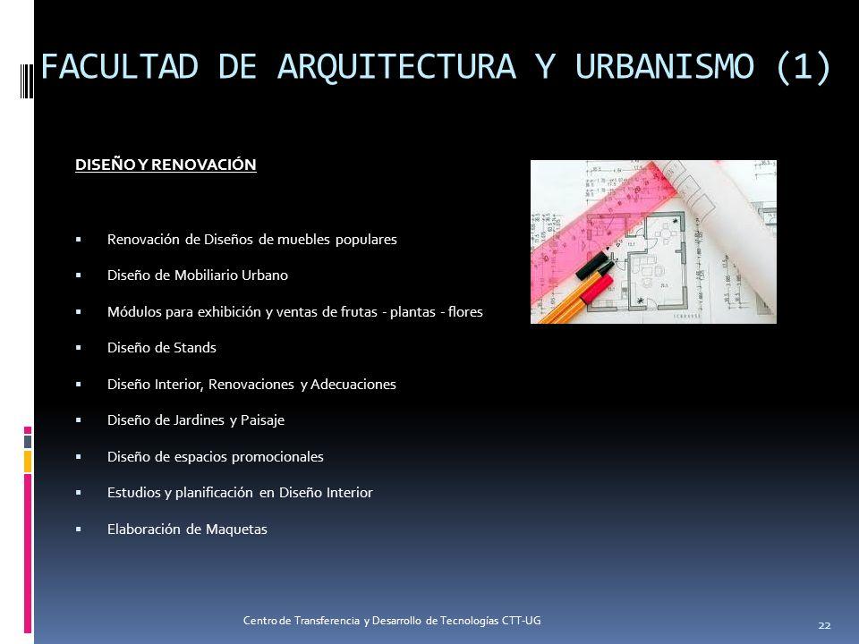 FACULTAD DE ARQUITECTURA Y URBANISMO (1) DISEÑO Y RENOVACIÓN Renovación de Diseños de muebles populares Diseño de Mobiliario Urbano Módulos para exhib