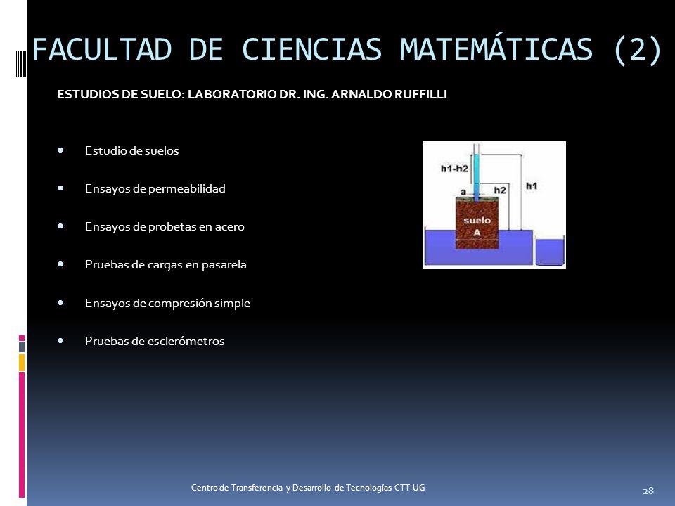 FACULTAD DE CIENCIAS MATEMÁTICAS (2) ESTUDIOS DE SUELO: LABORATORIO DR. ING. ARNALDO RUFFILLI Estudio de suelos Ensayos de permeabilidad Ensayos de pr