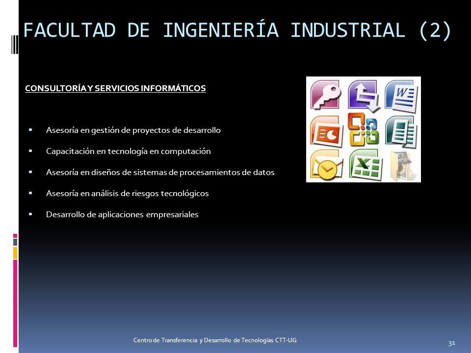 FACULTAD DE INGENIERÍA INDUSTRIAL (2) CONSULTORÍA Y SERVICIOS INFORMÁTICOS Asesoría en gestión de proyectos de desarrollo Capacitación en tecnología e
