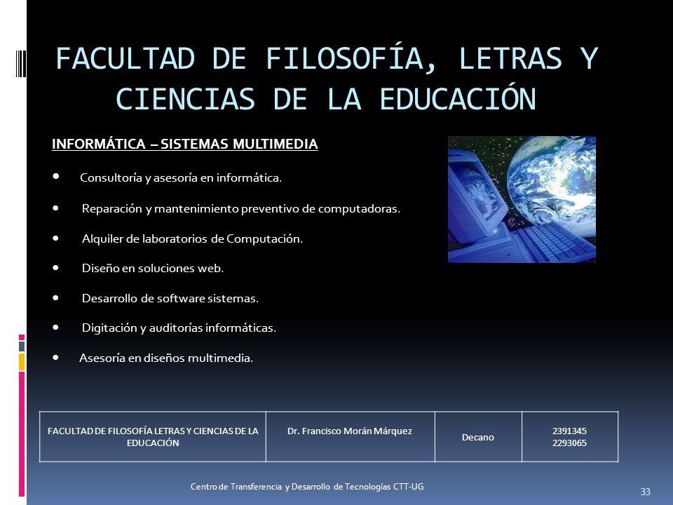 33 FACULTAD DE FILOSOFÍA, LETRAS Y CIENCIAS DE LA EDUCACIÓN INFORMÁTICA – SISTEMAS MULTIMEDIA Consultoría y asesoría en informática. Reparación y mant