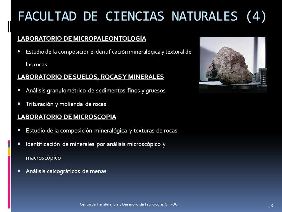 FACULTAD DE CIENCIAS NATURALES (4) LABORATORIO DE MICROPALEONTOLOGÍA Estudio de la composición e identificación mineralógica y textural de las rocas.