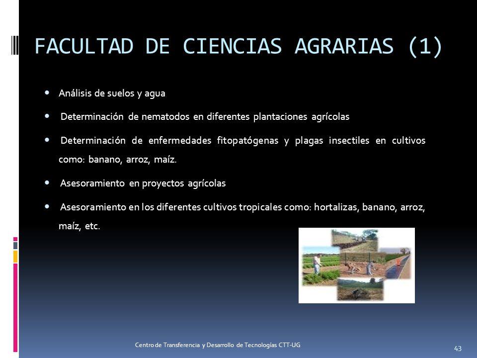 FACULTAD DE CIENCIAS AGRARIAS (1) Análisis de suelos y agua Determinación de nematodos en diferentes plantaciones agrícolas Determinación de enfermeda