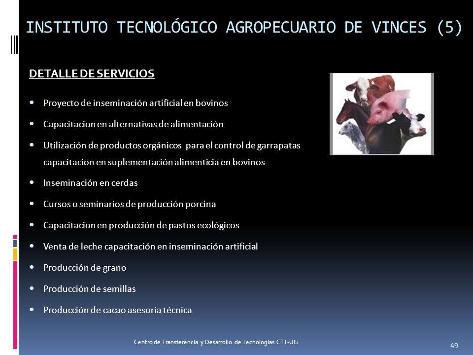 INSTITUTO TECNOLÓGICO AGROPECUARIO DE VINCES (5) DETALLE DE SERVICIOS Proyecto de inseminación artificial en bovinos Capacitacion en alternativas de a