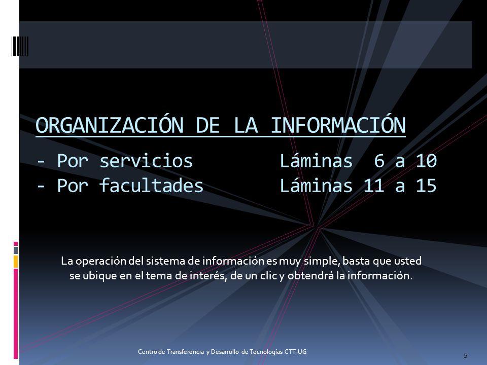 ORGANIZACIÓN DE LA INFORMACIÓN - Por serviciosLáminas 6 a 10 - Por facultadesLáminas 11 a 15 5 La operación del sistema de información es muy simple,