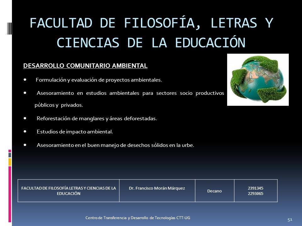 51 FACULTAD DE FILOSOFÍA, LETRAS Y CIENCIAS DE LA EDUCACIÓN DESARROLLO COMUNITARIO AMBIENTAL Formulación y evaluación de proyectos ambientales. Asesor