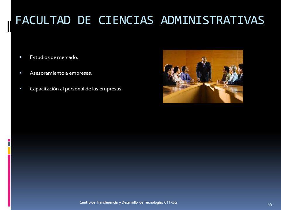 FACULTAD DE CIENCIAS ADMINISTRATIVAS Estudios de mercado. Asesoramiento a empresas. Capacitación al personal de las empresas. 55 Centro de Transferenc