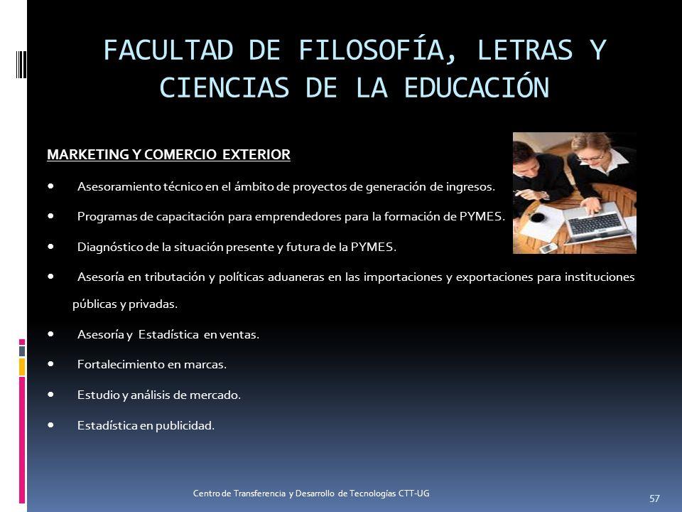 57 FACULTAD DE FILOSOFÍA, LETRAS Y CIENCIAS DE LA EDUCACIÓN MARKETING Y COMERCIO EXTERIOR Asesoramiento técnico en el ámbito de proyectos de generació