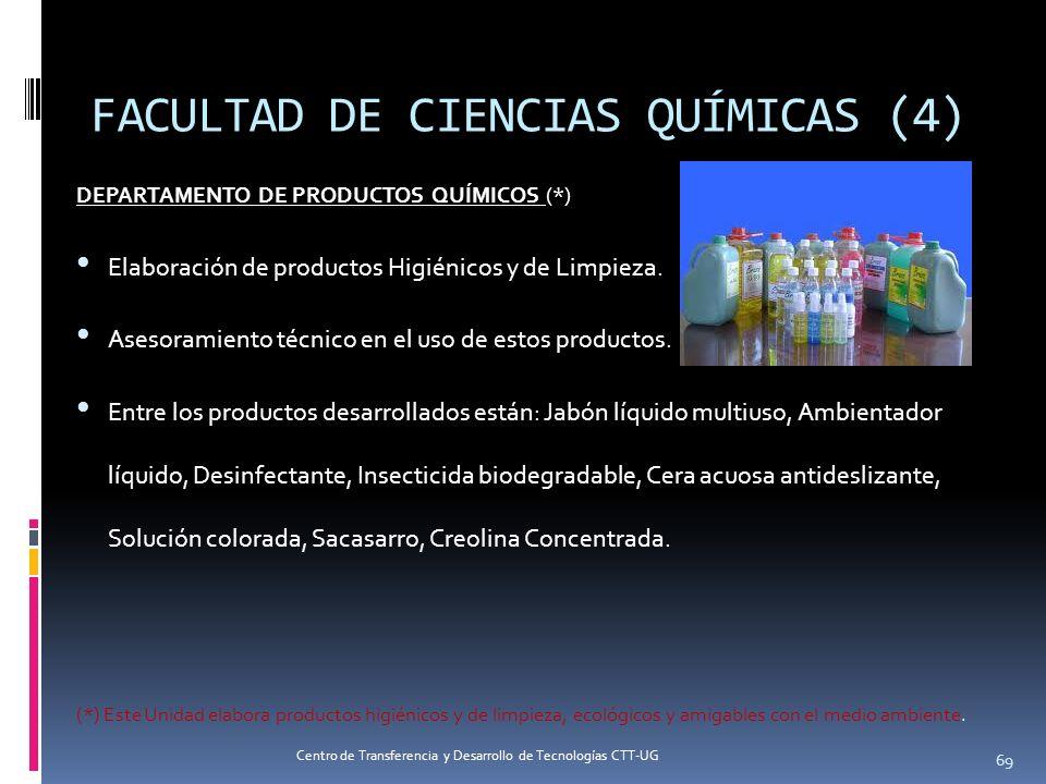 DEPARTAMENTO DE PRODUCTOS QUÍMICOS (*) Elaboración de productos Higiénicos y de Limpieza. Asesoramiento técnico en el uso de estos productos. Entre lo