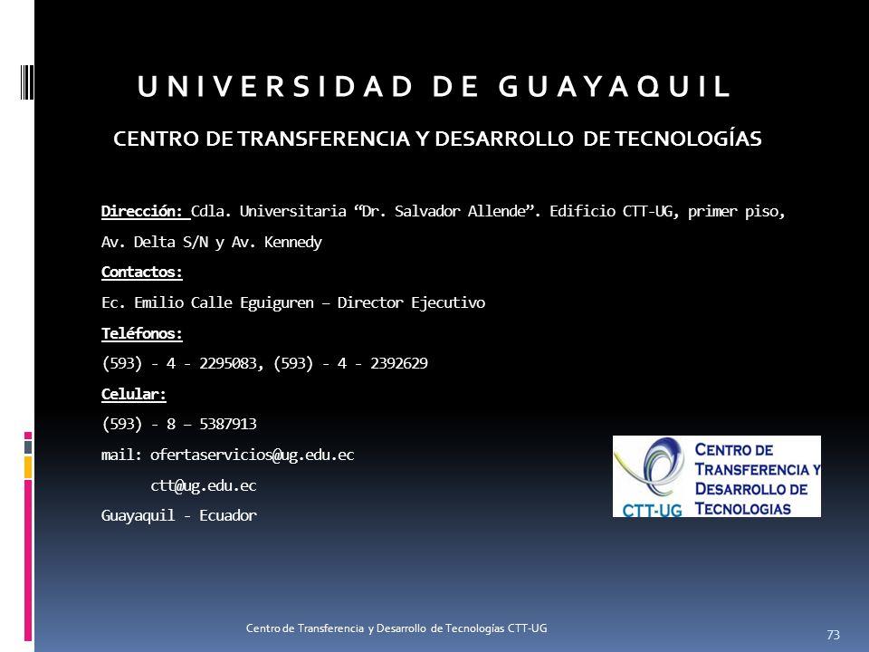 Dirección: Cdla. Universitaria Dr. Salvador Allende. Edificio CTT-UG, primer piso, Av. Delta S/N y Av. Kennedy Contactos: Ec. Emilio Calle Eguiguren –