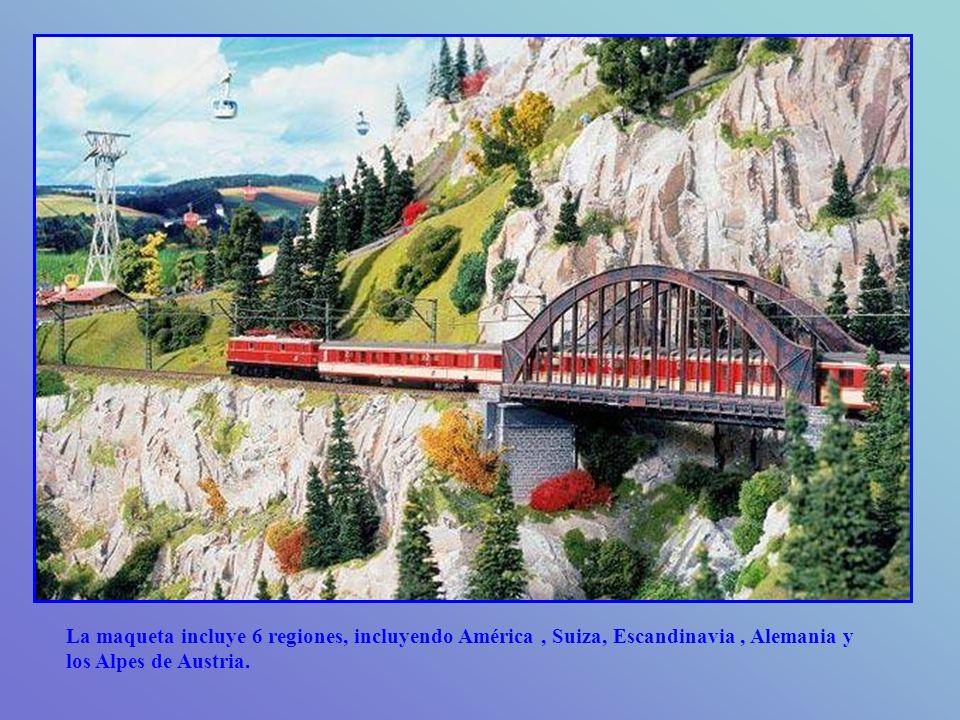 La maqueta incluye 6 regiones, incluyendo América, Suiza, Escandinavia, Alemania y los Alpes de Austria.