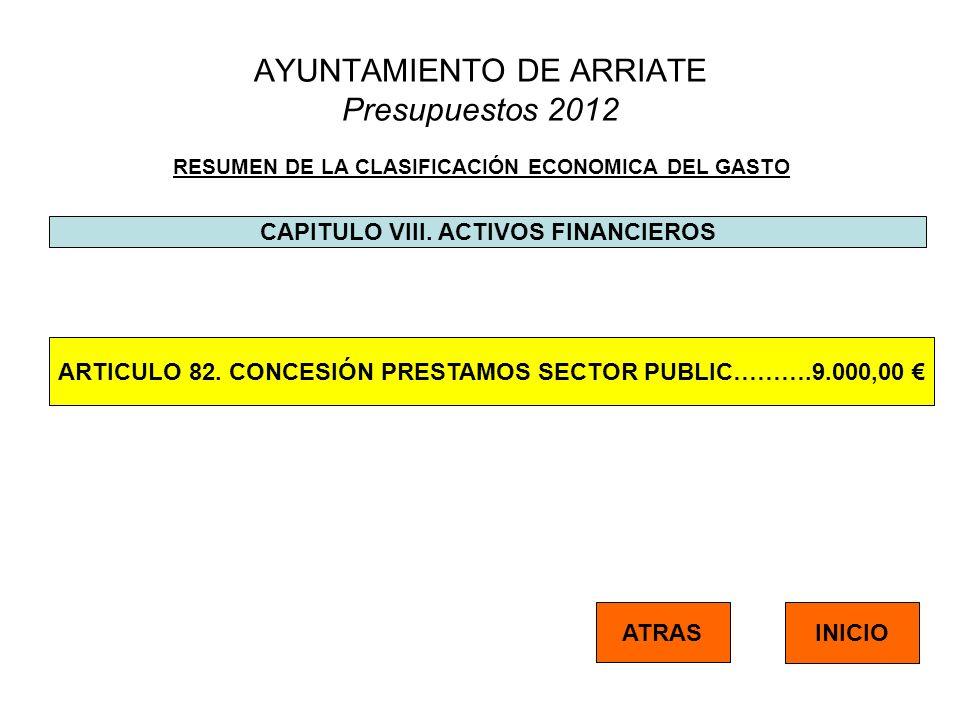 AYUNTAMIENTO DE ARRIATE Presupuestos 2012 RESUMEN DE LA CLASIFICACIÓN ECONOMICA DEL GASTO CAPITULO VIII. ACTIVOS FINANCIEROS ATRAS INICIO ARTICULO 82.