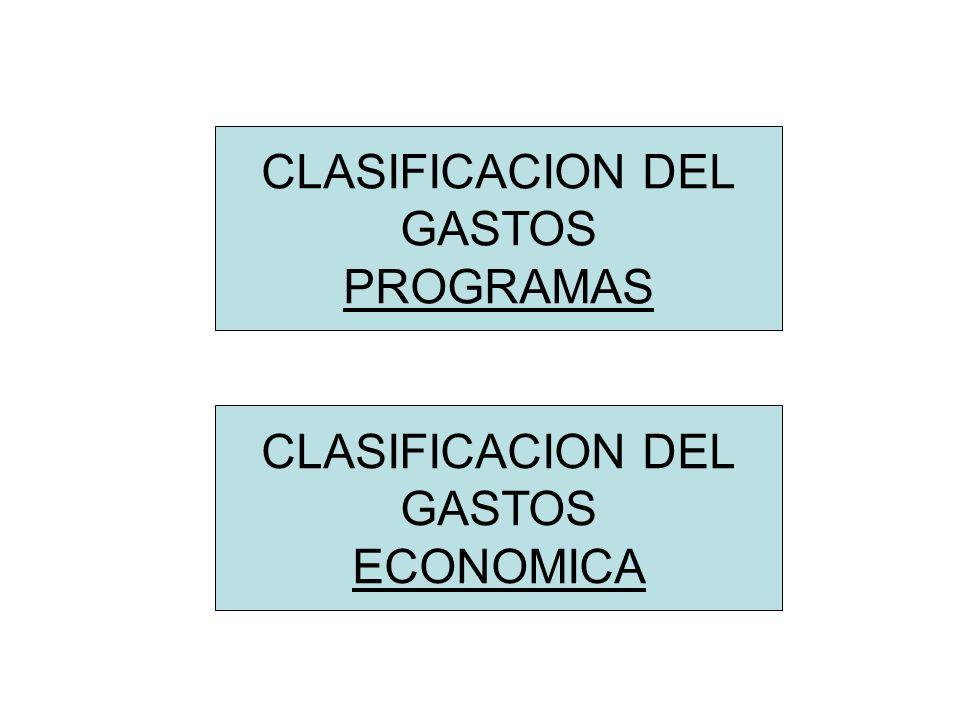 CLASIFICACION DEL GASTOS PROGRAMAS CLASIFICACION DEL GASTOS ECONOMICA