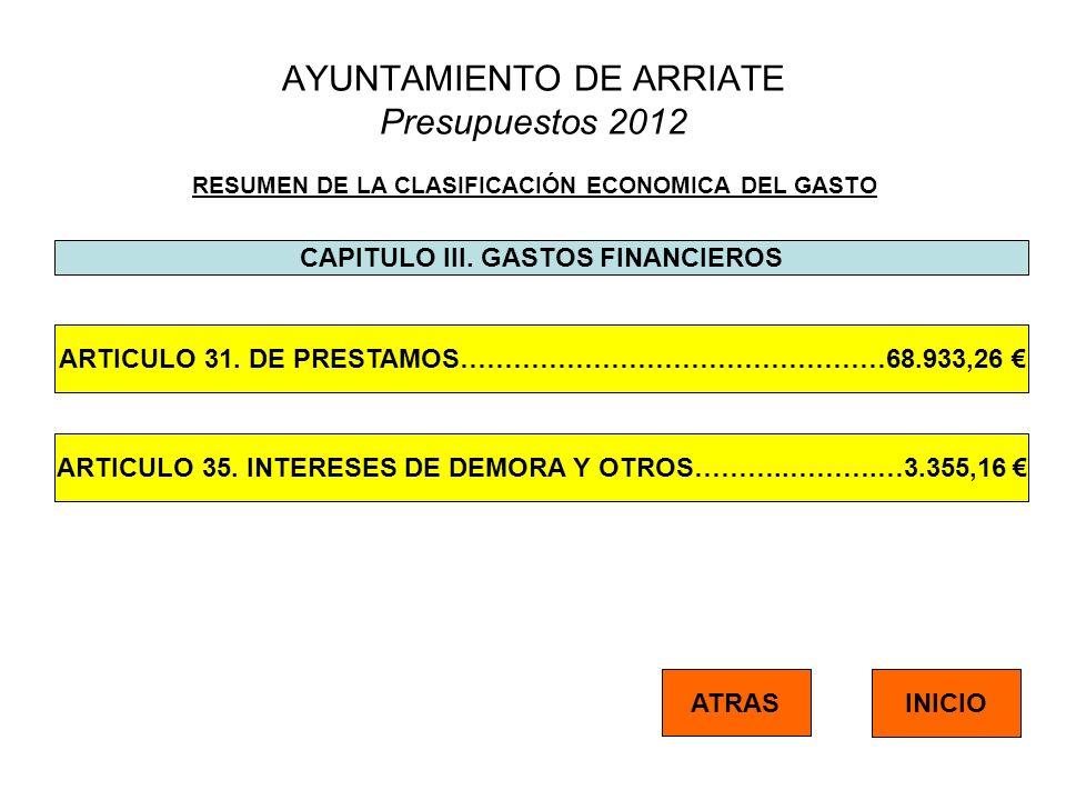 AYUNTAMIENTO DE ARRIATE Presupuestos 2012 RESUMEN DE LA CLASIFICACIÓN ECONOMICA DEL GASTO CAPITULO III. GASTOS FINANCIEROS ATRAS INICIO ARTICULO 31. D