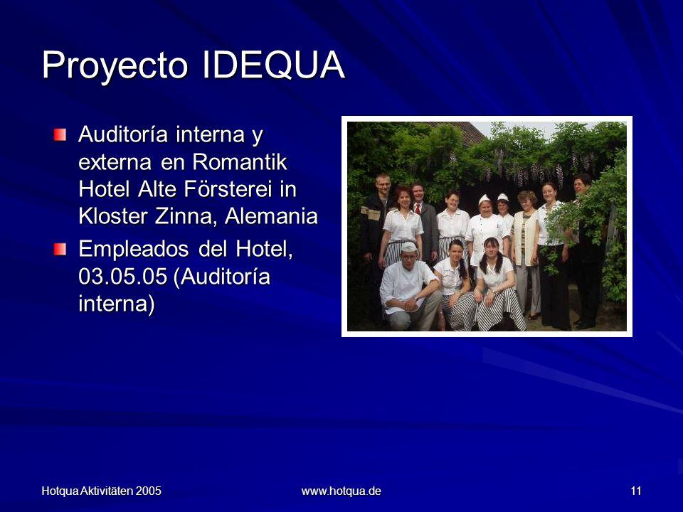 Hotqua Aktivitäten 2005 www.hotqua.de 11 Proyecto IDEQUA Auditoría interna y externa en Romantik Hotel Alte Försterei in Kloster Zinna, Alemania Empleados del Hotel, 03.05.05 (Auditoría interna)