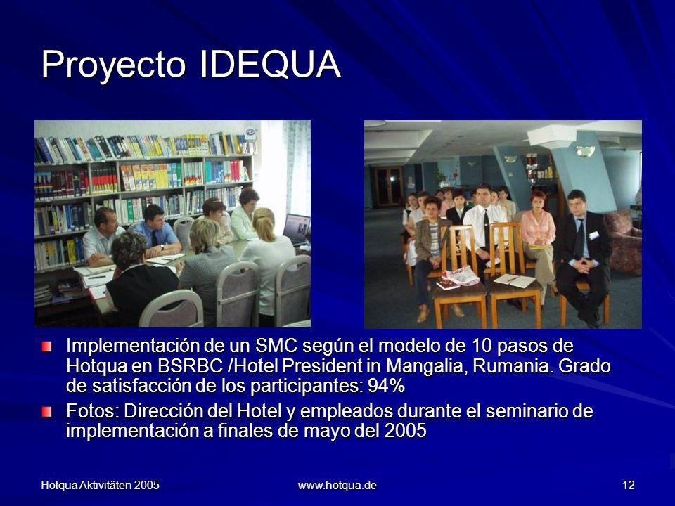 Hotqua Aktivitäten 2005 www.hotqua.de 12 Proyecto IDEQUA Implementación de un SMC según el modelo de 10 pasos de Hotqua en BSRBC /Hotel President in Mangalia, Rumania.