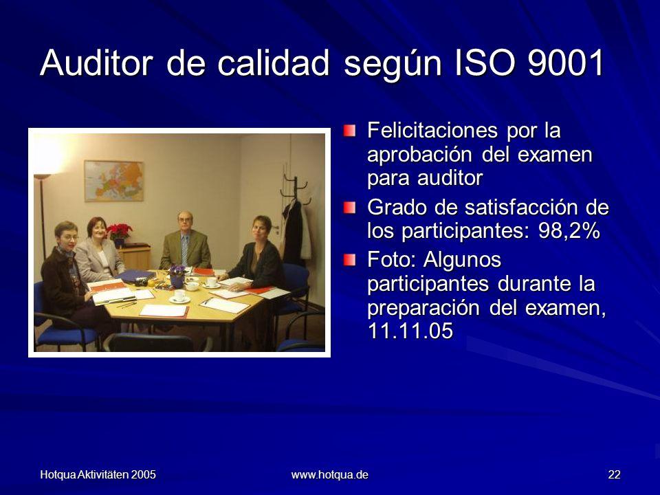 Hotqua Aktivitäten 2005 www.hotqua.de 22 Auditor de calidad según ISO 9001 Felicitaciones por la aprobación del examen para auditor Grado de satisfacción de los participantes: 98,2% Foto: Algunos participantes durante la preparación del examen, 11.11.05