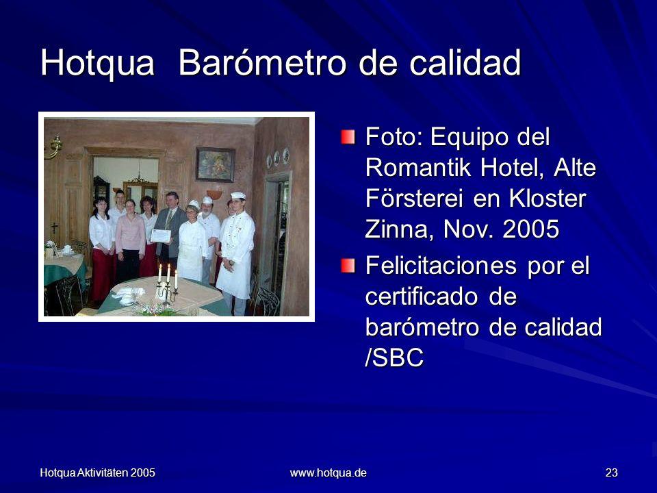 Hotqua Aktivitäten 2005 www.hotqua.de 23 Hotqua Barómetro de calidad Foto: Equipo del Romantik Hotel, Alte Försterei en Kloster Zinna, Nov.