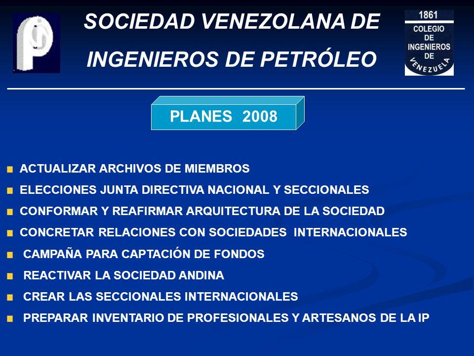 SOCIEDAD VENEZOLANA DE INGENIEROS DE PETRÓLEO PROMOVER LA REALIZACIÓN DE EVENTOS INTERNACIONALES CONTINUAR ELABORACIÓN DE REGLAMENTOS PROMOVER FOROS M