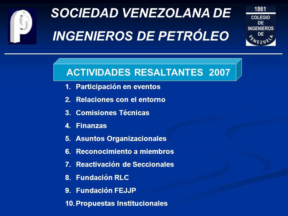 SOCIEDAD VENEZOLANA DE INGENIEROS DE PETRÓLEO ACTIVIDADES RESALTANTES 2007 PLANES 2008