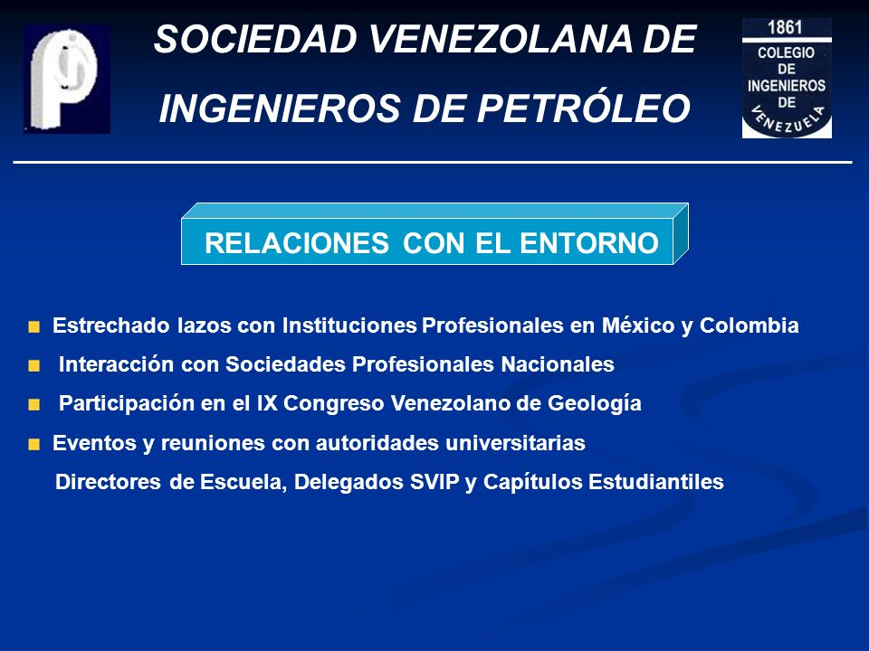 SOCIEDAD VENEZOLANA DE INGENIEROS DE PETRÓLEO PARTICIPACIÓN EN EVENTOS SEMINARIO TECNOLÓGICO DE OFFSHORE
