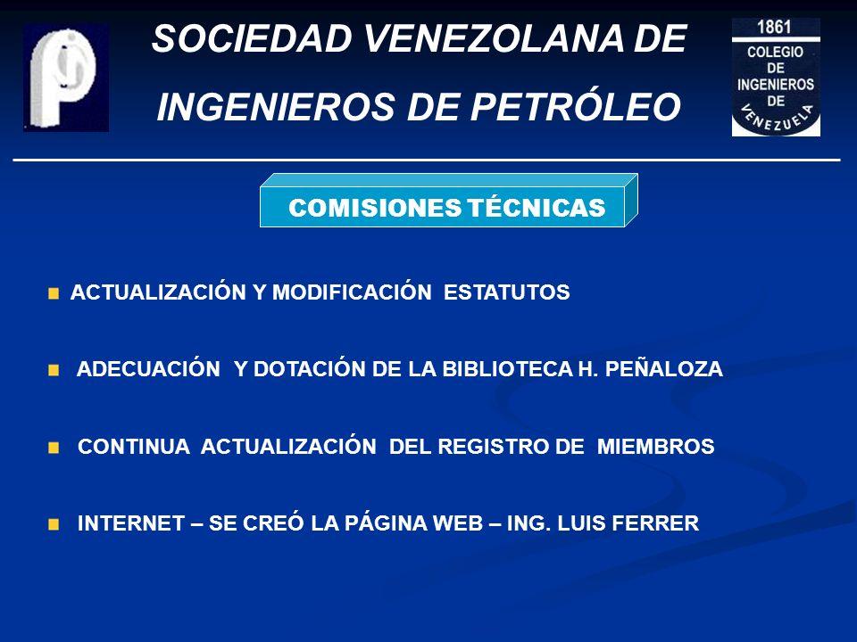 SOCIEDAD VENEZOLANA DE INGENIEROS DE PETRÓLEO RELACIONES CON EL ENTORNO Estrechado lazos con Instituciones Profesionales en México y Colombia Interacc