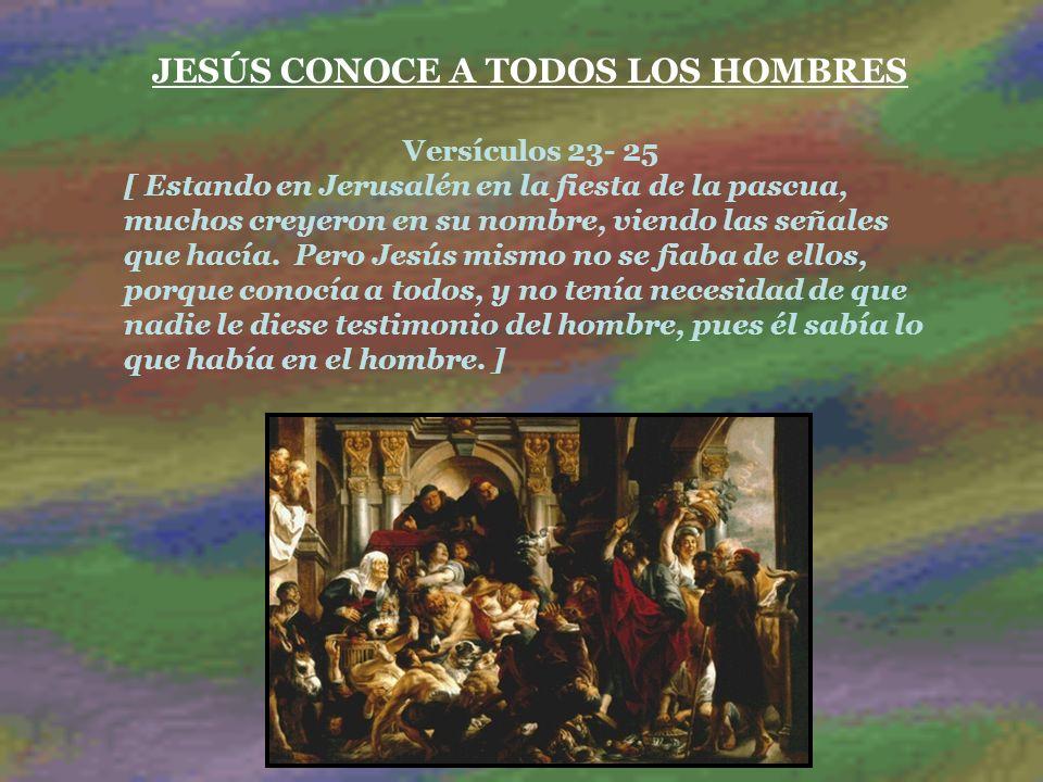 JESÚS CONOCE A TODOS LOS HOMBRES Versículos 23- 25 [ Estando en Jerusalén en la fiesta de la pascua, muchos creyeron en su nombre, viendo las señales