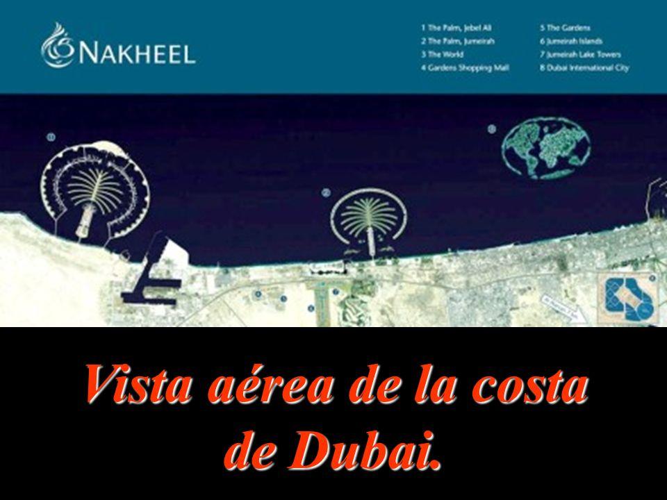Vista aérea de la costa de Dubai.