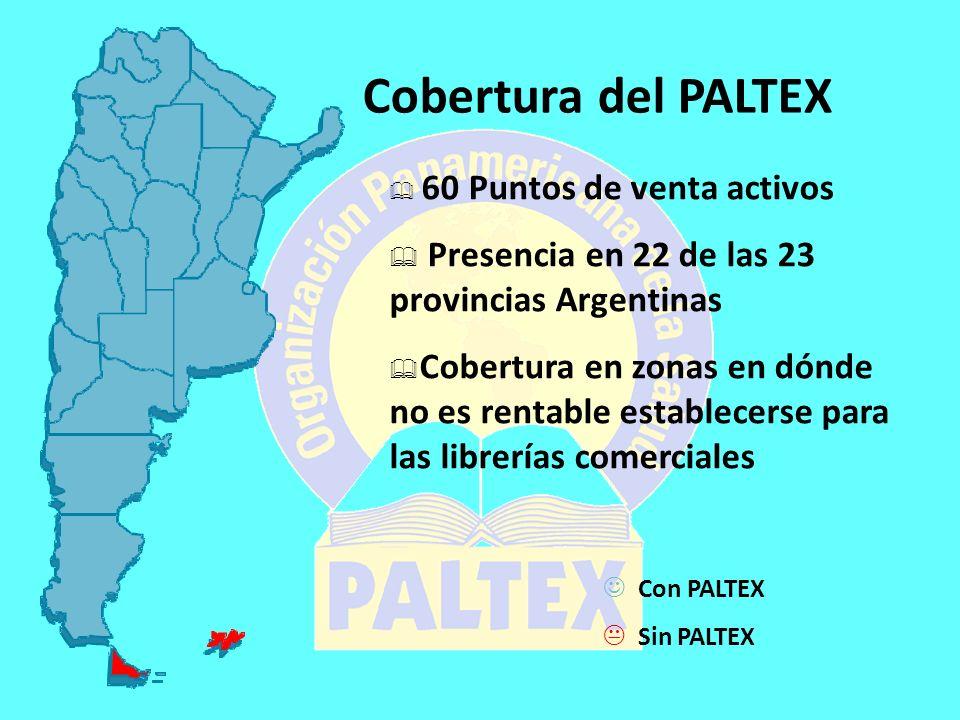 Cobertura del PALTEX 60 Puntos de venta activos Presencia en 22 de las 23 provincias Argentinas Cobertura en zonas en dónde no es rentable establecerse para las librerías comerciales Con PALTEX Sin PALTEX