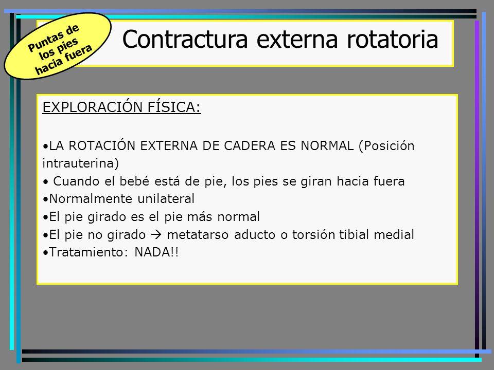 Síndrome de mala alineación – triple deformidad de Judet ANTEVERSIÓN FEMORAL INTERNA + TORSIÓN TIBIAL EXTERNA + TORSIÓN FEMORAL INTERNA DE RODILLA El eje de flexión de la rodilla no está en la línea de progresión Tuberosidad tibial hacia fuera / rótula hacia dentro Hiperpresión comp.