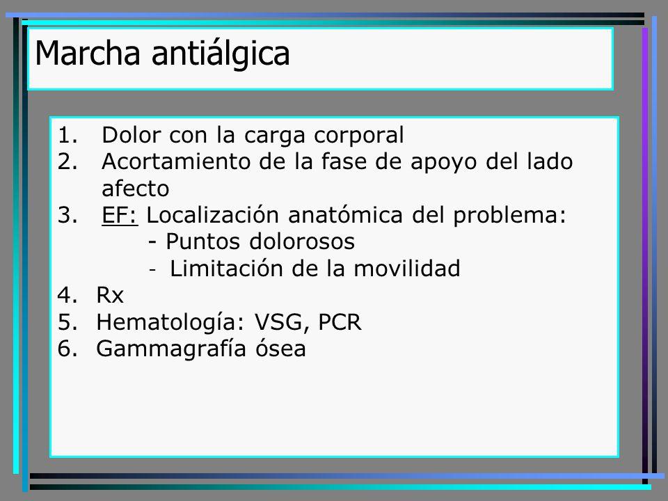 Marcha antiálgica 1.Dolor con la carga corporal 2.Acortamiento de la fase de apoyo del lado afecto 3.EF: Localización anatómica del problema: - Puntos dolorosos - Limitación de la movilidad 4.Rx 5.Hematología: VSG, PCR 6.Gammagrafía ósea