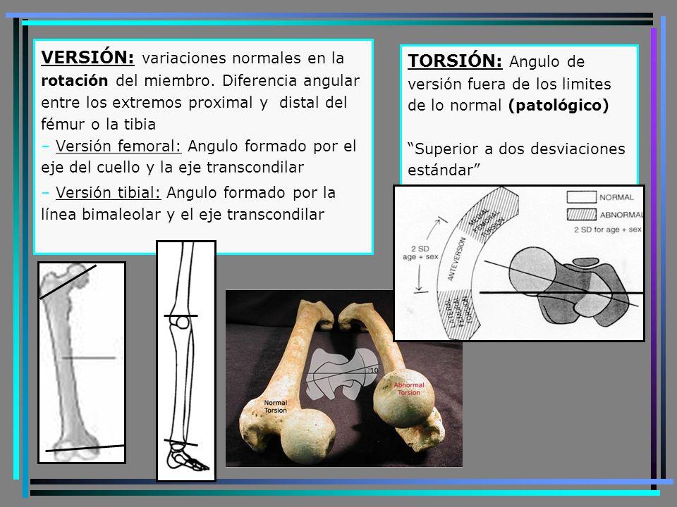 Evolución fisiológica eje MMII últimas semanas de gestación: Fémures en rotación externa y tibias en rotación interna 10 meses: Rotación externa de todo el miembro Entre los 3-5 años: Aparece marcha con desviación interna de la punta de los pies debido a una torsión femoral interna A partir de los 5 años: corrección progresiva de la desviación interna de la punta de los pies, debido a la aparición de una torsión tibial externa.