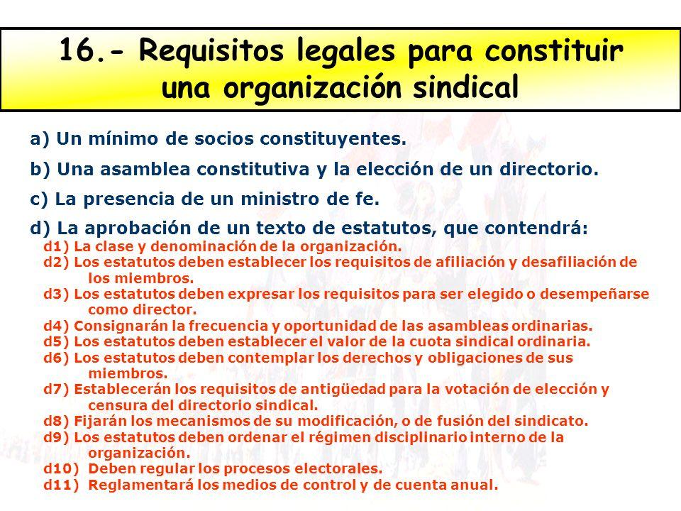 16.- Requisitos legales para constituir una organización sindical a) Un mínimo de socios constituyentes.