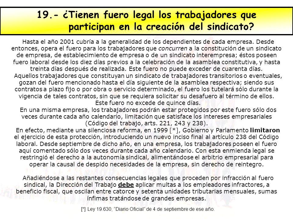 19.- ¿Tienen fuero legal los trabajadores que participan en la creación del sindicato.