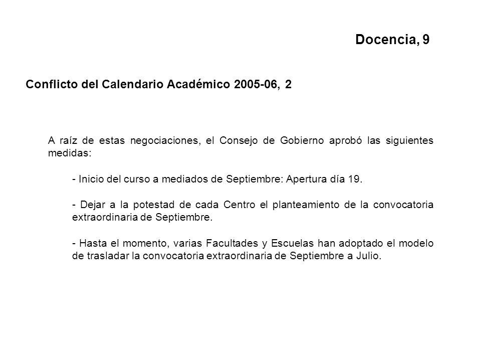 Docencia, 9 Conflicto del Calendario Académico 2005-06, 2 A raíz de estas negociaciones, el Consejo de Gobierno aprobó las siguientes medidas: - Inicio del curso a mediados de Septiembre: Apertura día 19.