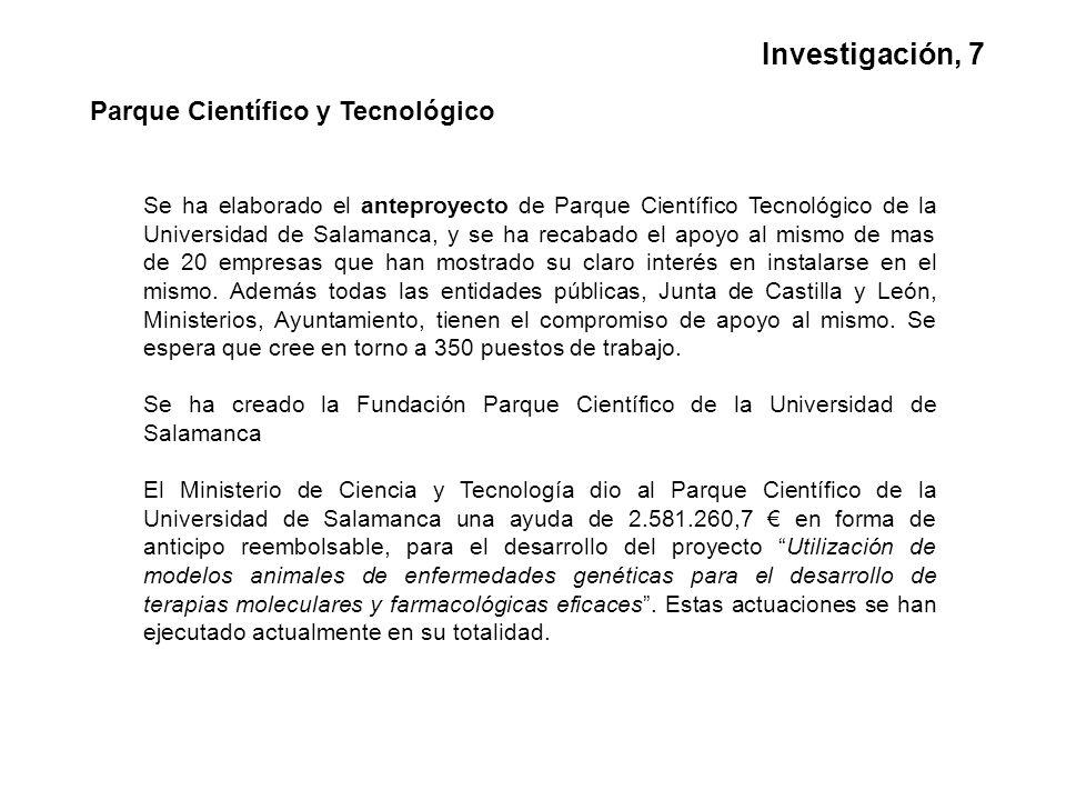Parque Científico y Tecnológico Se ha elaborado el anteproyecto de Parque Científico Tecnológico de la Universidad de Salamanca, y se ha recabado el apoyo al mismo de mas de 20 empresas que han mostrado su claro interés en instalarse en el mismo.