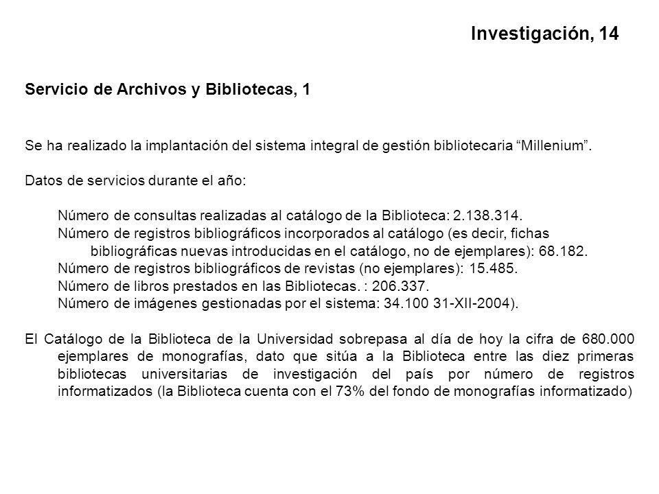 Servicio de Archivos y Bibliotecas, 1 Se ha realizado la implantación del sistema integral de gestión bibliotecaria Millenium.
