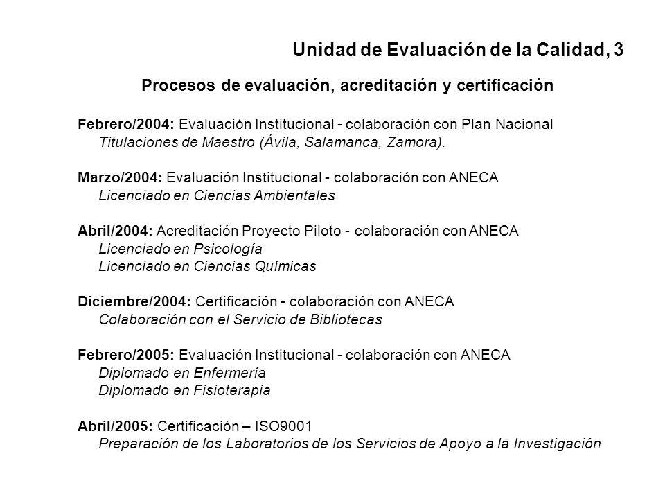 Procesos de evaluación, acreditación y certificación Febrero/2004: Evaluación Institucional - colaboración con Plan Nacional Titulaciones de Maestro (Ávila, Salamanca, Zamora).