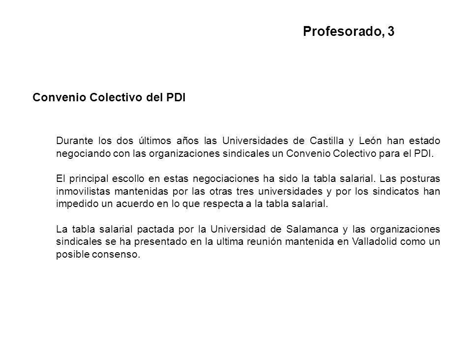 Convenio Colectivo del PDI Durante los dos últimos años las Universidades de Castilla y León han estado negociando con las organizaciones sindicales un Convenio Colectivo para el PDI.