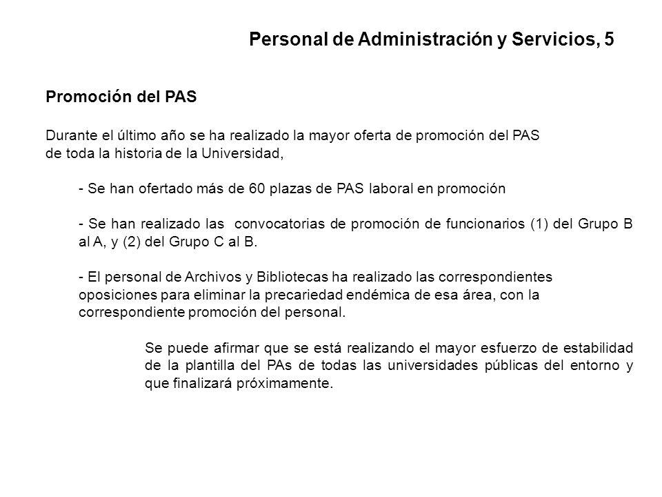 Promoción del PAS Durante el último año se ha realizado la mayor oferta de promoción del PAS de toda la historia de la Universidad, - Se han ofertado más de 60 plazas de PAS laboral en promoción - Se han realizado las convocatorias de promoción de funcionarios (1) del Grupo B al A, y (2) del Grupo C al B.