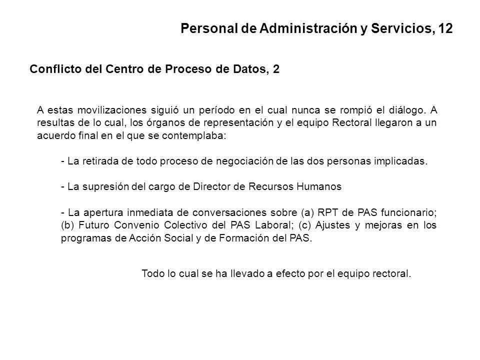 Personal de Administración y Servicios, 12 Conflicto del Centro de Proceso de Datos, 2 A estas movilizaciones siguió un período en el cual nunca se rompió el diálogo.