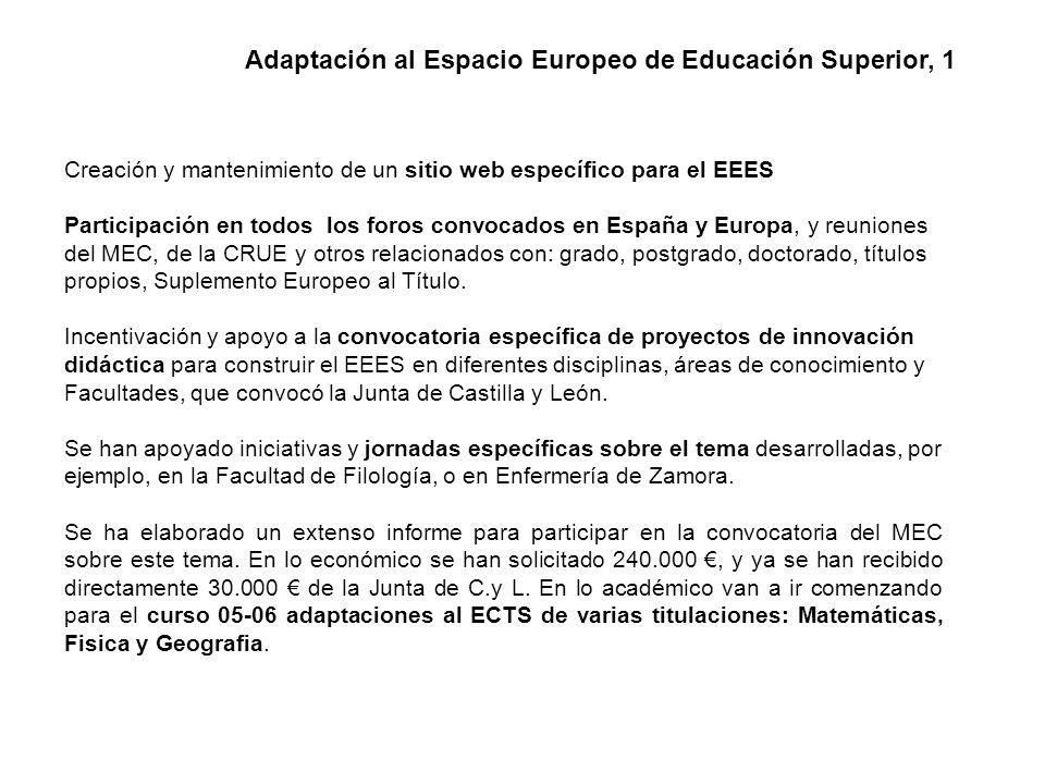 Creación y mantenimiento de un sitio web específico para el EEES Participación en todos los foros convocados en España y Europa, y reuniones del MEC, de la CRUE y otros relacionados con: grado, postgrado, doctorado, títulos propios, Suplemento Europeo al Título.