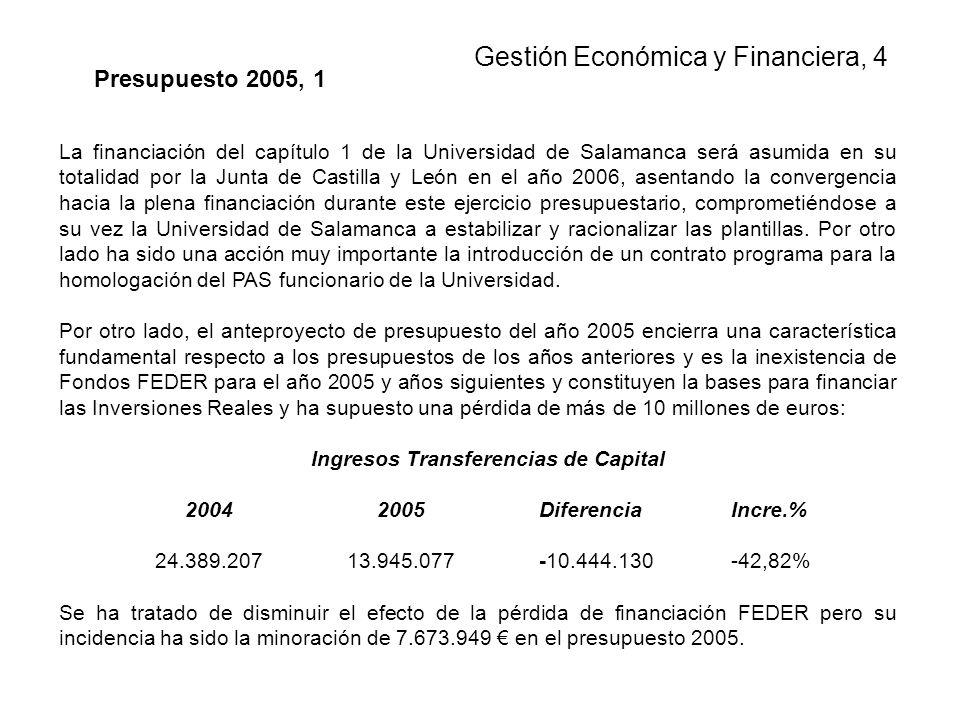 La financiación del capítulo 1 de la Universidad de Salamanca será asumida en su totalidad por la Junta de Castilla y León en el año 2006, asentando la convergencia hacia la plena financiación durante este ejercicio presupuestario, comprometiéndose a su vez la Universidad de Salamanca a estabilizar y racionalizar las plantillas.