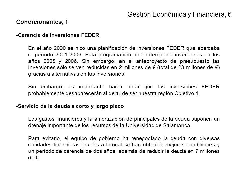 Condicionantes, 1 -Carencia de inversiones FEDER En el año 2000 se hizo una planificación de inversiones FEDER que abarcaba el período 2001-2006.