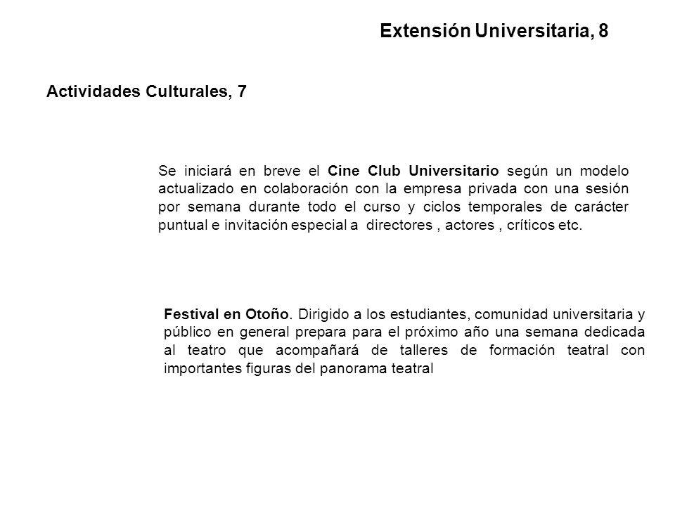 Se iniciará en breve el Cine Club Universitario según un modelo actualizado en colaboración con la empresa privada con una sesión por semana durante todo el curso y ciclos temporales de carácter puntual e invitación especial a directores, actores, críticos etc.