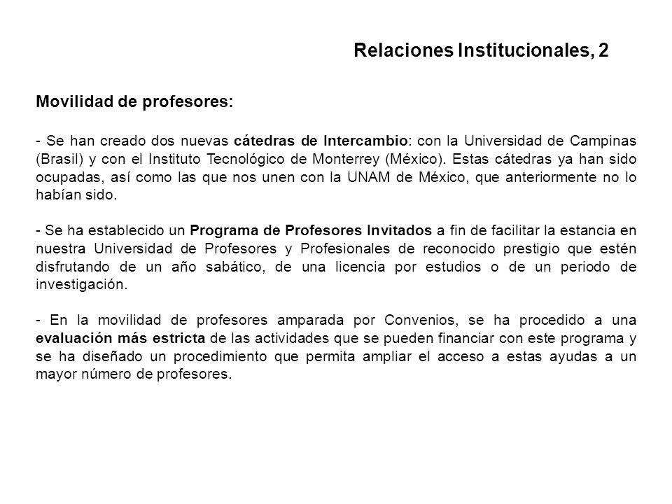 Movilidad de profesores: - Se han creado dos nuevas cátedras de Intercambio: con la Universidad de Campinas (Brasil) y con el Instituto Tecnológico de Monterrey (México).