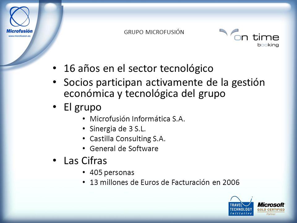 16 años en el sector tecnológico Socios participan activamente de la gestión económica y tecnológica del grupo El grupo Microfusión Informática S.A.
