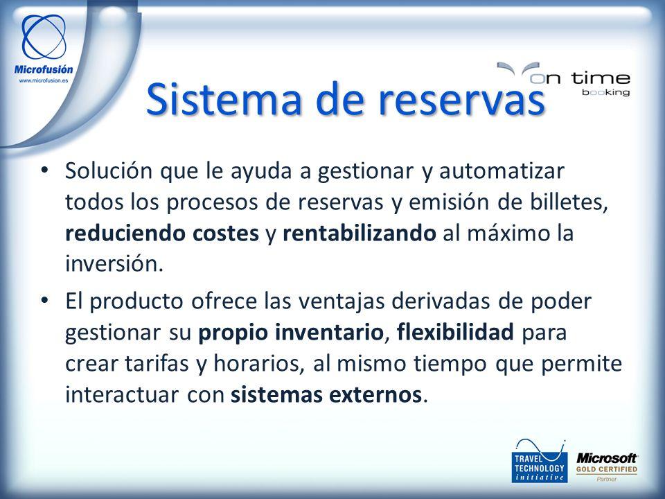 Solución que le ayuda a gestionar y automatizar todos los procesos de reservas y emisión de billetes, reduciendo costes y rentabilizando al máximo la inversión.