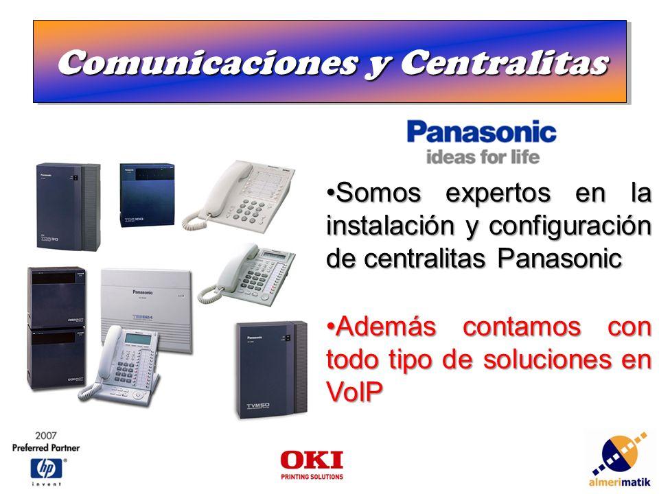Comunicaciones y Centralitas Somos expertos en la instalación y configuración de centralitas PanasonicSomos expertos en la instalación y configuración de centralitas Panasonic Además contamos con todo tipo de soluciones en VoIPAdemás contamos con todo tipo de soluciones en VoIP