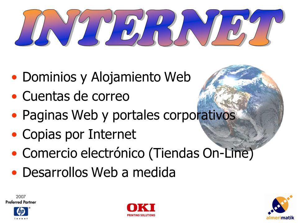 Dominios y Alojamiento Web Cuentas de correo Paginas Web y portales corporativos Copias por Internet Comercio electrónico (Tiendas On-Line) Desarrollos Web a medida