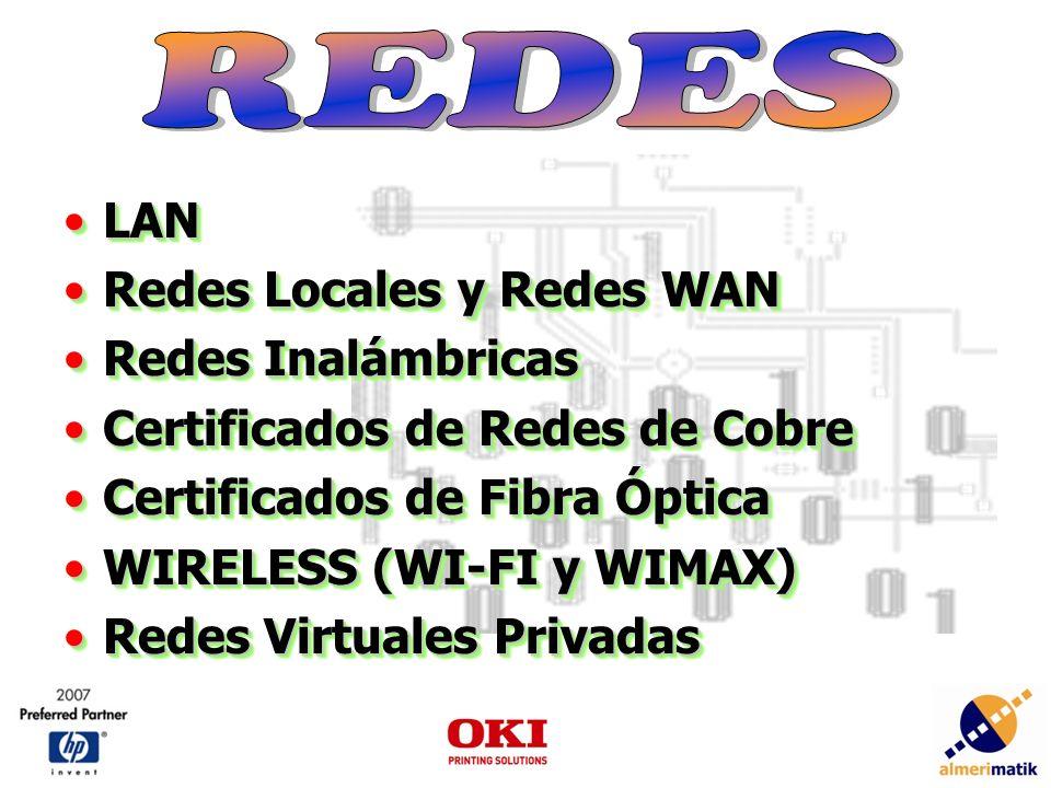 LANLAN Redes Locales y Redes WANRedes Locales y Redes WAN Redes InalámbricasRedes Inalámbricas Certificados de Redes de CobreCertificados de Redes de Cobre Certificados de Fibra ÓpticaCertificados de Fibra Óptica WIRELESS (WI-FI y WIMAX)WIRELESS (WI-FI y WIMAX) Redes Virtuales PrivadasRedes Virtuales Privadas LANLAN Redes Locales y Redes WANRedes Locales y Redes WAN Redes InalámbricasRedes Inalámbricas Certificados de Redes de CobreCertificados de Redes de Cobre Certificados de Fibra ÓpticaCertificados de Fibra Óptica WIRELESS (WI-FI y WIMAX)WIRELESS (WI-FI y WIMAX) Redes Virtuales PrivadasRedes Virtuales Privadas